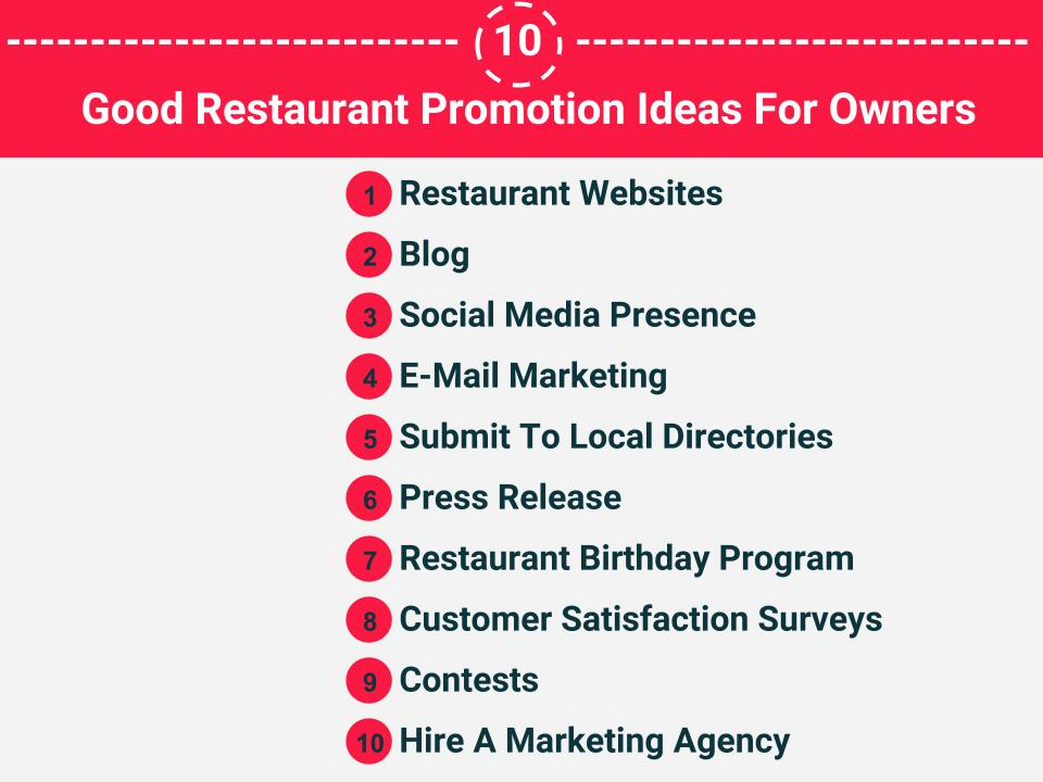 10 Good Restaurant promotion ideas
